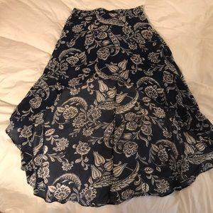 Navy Blue high low skirt